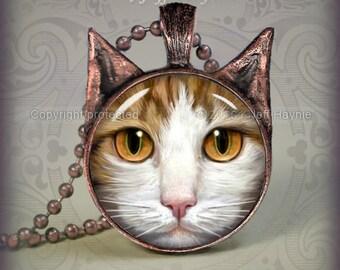 OW9 Orange Tabby and White Cat pendant