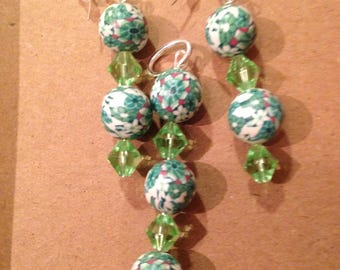 Clay and Swarovski beads ear rings and pendant trio