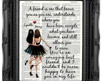 Personalized Best Friend Gift for Best Friend Brunette best friends Friendship Quote Besties Gift Best Friend Birthday Gift Bestie 175