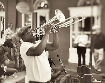 """New Orleans Jazz Musician Photograph """"Music from the Soul"""" French Quarter Street Performer Picture,   Louisiana Print. Mardi Gras Wall Art."""