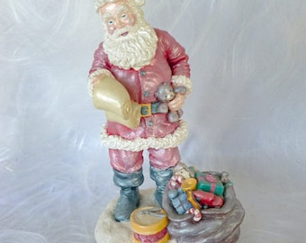 """Naughty or Nice? 10"""" Santa with his list and bag of toys - Handpainted Ceramic Bisque Christmas Decor"""