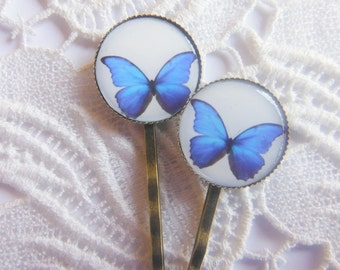 Ulysses Blue Butterfly Hair Clips Bobby Pins