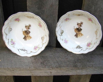 Save 20%! 2 Antique (1899-1910) Bavarian, Zeh Scherzer & Co, Embossed Berry Bowls With Victorian Woman in Brown Shawl, Pink Flowers