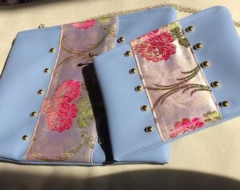 Blue handmade silk brocade Clutchbag