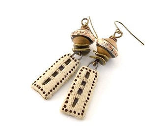 Handmade Earrings, Ceramic Earrings, Gold and Brown Rustic, Wire Earrings, Boho Earrings, Artisan Earrings, Long Earrings, Stoneware, AE183