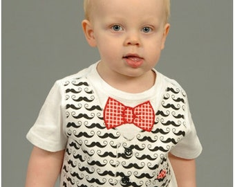 Boy Outfit - Boy Tshirt Pattern - SEW DAPPER Appliquéd Vest or Suspenders with Assorted Ties PDF Pattern Sizes Newborn-5