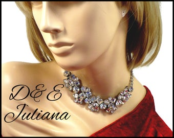 D and E Juliana Rhinestone Necklace, Bridal Necklace, Runway Style, Stage Performance, Graduation Gift, Mothers Day Gift For Collector