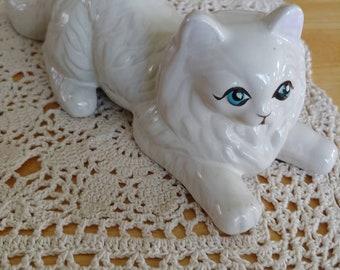 Vintage white ceramic cat