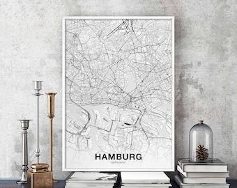 Hamburg map etsy - Einweihungsparty englisch ...