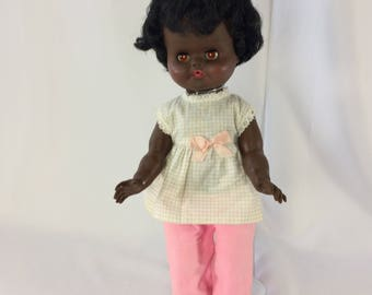 Regal Doll African American Brown Skin Vintage Canada 15.5 inches Golden Eyes No 1 Scarce