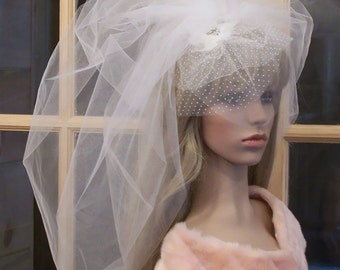 Custom Couture Wedding Ceremony and Reception 2 n 1 Ensemble- Bubble Veil/Swiss Dot Birdcage Veil-CRBoggs Original Design