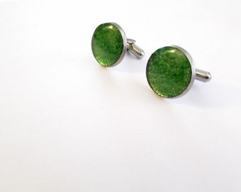 Beer Bottle Cuff Links, Gifts for Dad, Gifts for Him, Green Cuff Links, upcycled glass, Recycled, Gift, Stainless Steel, New Orleans