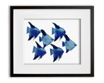 Blue Angelfish Art Print Watercolor Wall Art 8x10 or 11x14