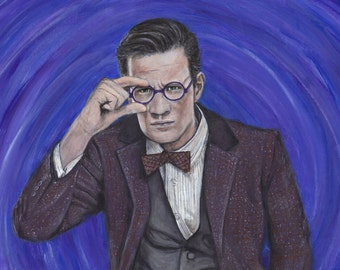 Doctor Who Matt Smith Eleven Acrylic Painting Art Print 11.7 x 16.5 inches