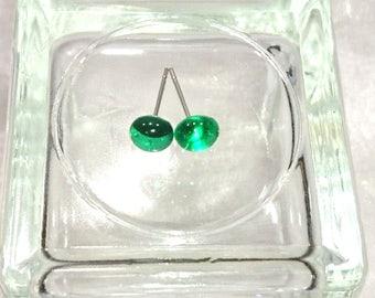 dichroic fused glass Emerald Stud Earrings