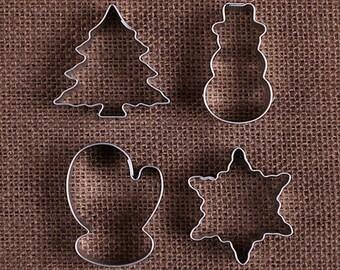 Christmas Cookie Cutter Set, MINI Christmas Cookie Cutters, Mini Snowman Cookie Cutter, Mini Mitten Cookie Cutter, Mini Tree Cookie Cutter