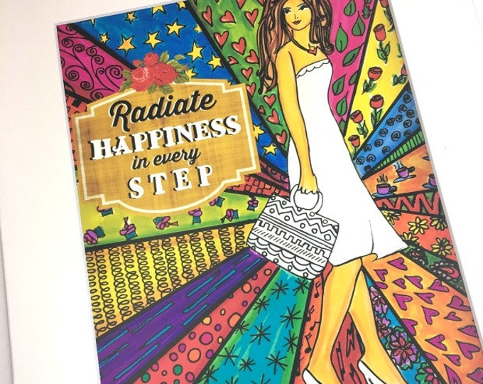 AFFIRMATION PRINT: Radiate Happiness 8x10