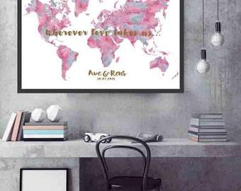Wedding Guest book Print World Map wedding guest book