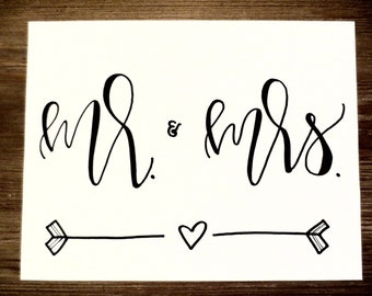Mr and Mrs Print, 8x10 (Hand-lettered with permanent marker)