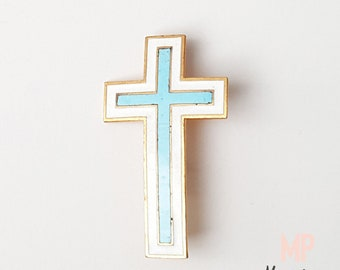 FRANCE 1950, Religious Brooch, Enamelled golden metal, Cross