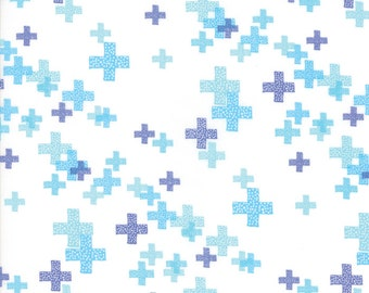 One Yard Cut - Periwinkle on White Pluses - Modern BG Colorbox Backgrounds by Zen Chic Fabrics for Moda -  Quilters Cotton