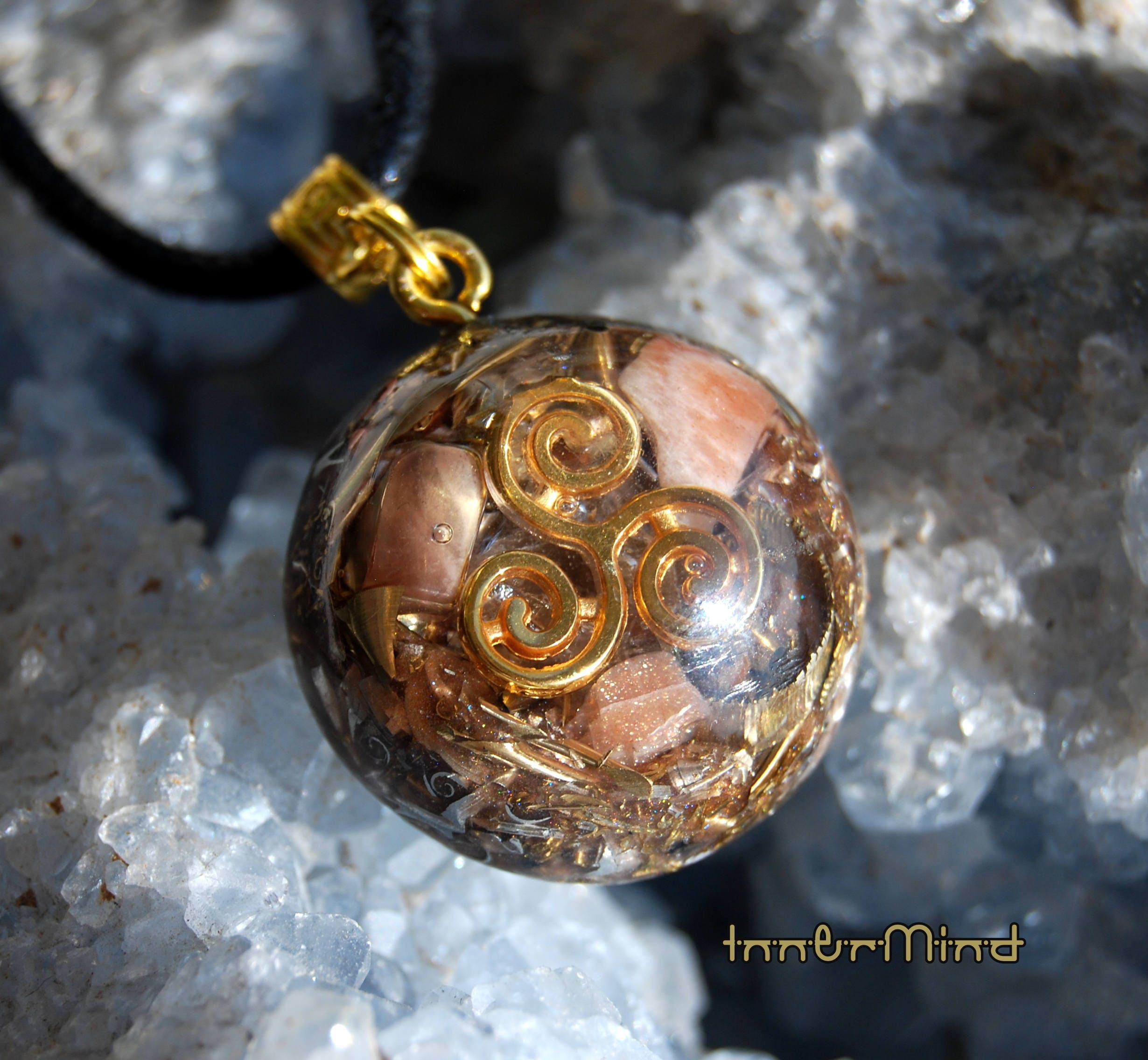 triskelion unique sunstone pendant protection orgonite fullxfull handmade orgone with healing il emf listing