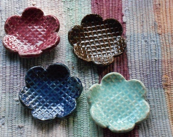 Handmade pottery jewelry holder - tea bag holder - ceramic ring dish - ceramic spoon rest - ring holder - rustic flower shaped dishes