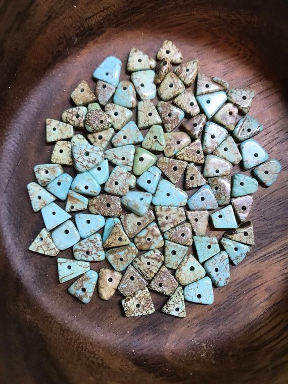 Beads - Simulated Turquoise Chip Beads - Triangle Shaped Beads 5 - 7mm - Aqua Blue - 80 Beads