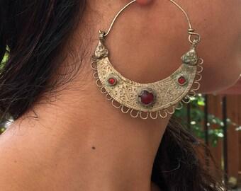 Vintage Hoops Earring.Old Banjara Earring.Tribal Jewelry.Ethnic.Earring.Kuchi Earring.Authentic Earring....