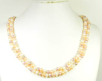 Pearl Necklace - Rope Length Multi-color Pearl Necklace - 47 inches 6-7 mm Multi-color Freshwater Pearl Necklace - Long Pearl Necklace