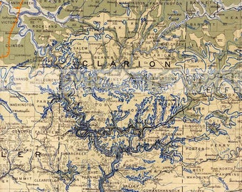 Vintage Map / Antique U.S. Map / Topo Map / Map Print / Digital Instant Download / Antique Tourist Map / Old Topographic Map / Antique Topo