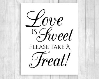 Love is Sweet Take A Treat Wedding or Bridal Shower 5x7, 8x10 Printable Candy Buffet Sign - Black and White - Instant Download