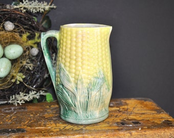 Majolica Pottery Pitcher Creamer, Antique, majolica pottery, Corn green yellow pitcher, vintage majolica, 1800's, #318