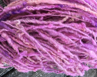 Wool yarn - Border Leicester - hand dyed and hand spun - chunky yarn