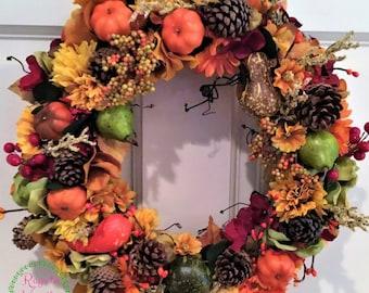 Small Fall Wreath, Table Centerpiece Wreath, Fall Wreath, Door Wreath, Seasonal Wreath, Holiday Centerpiece Wreath
