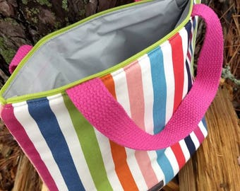 Striped Insulated Lunch Bag