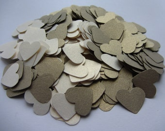 Wedding confetti hearts - White Gold - Gold Leaf - Paper hearts - 200 die cut hearts - paper heart confetti - weddings