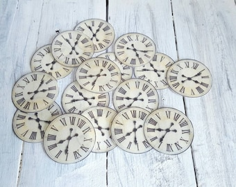 Wafer / Rice Paper Vintage Clock Face Cupcake or Cookie Toppers! 1 Dozen Pre Cut