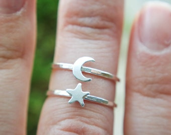 Crescent Moon ring | Star ring | Moon and Star ring | Moon ring | Silver Moon ring | Galaxy ring | Moon stacking ring | Star stacking ring