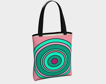 Pink and Green Target Tote Bag, Canvas Tote Bag, Target Tote Bag, Shoulder Bag, Basic Tote Bag, Urban Tote Bag, Tote with Pockets