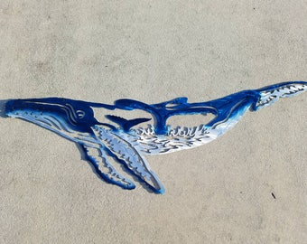 Aluminum humpback whale Wall Art, Metal Fish Art, Metal Ocean Art, Fishing Gift, Tropical Decor, Tropical Fish Art, Handmade Fish Art