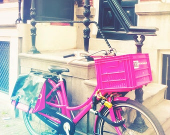 Amsterdam Street Photography, Bicycle Print, Travel Photography, Light Leak Overlays