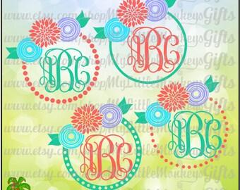 Flower Monogram SVG ~  Flower Monogram Frame SVG ~ Girls Monogram ~ Monogram Svg ~ Commercial Use SVG ~ Cut File ~ Clipart ~ svg-dxf-eps-png