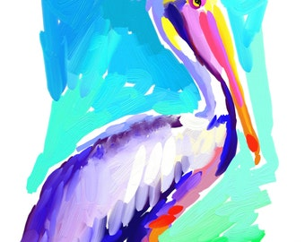 Pelican Art Print 16x20 Pelican by Kelly Tracht, Palm Beach Regency, Item #1L