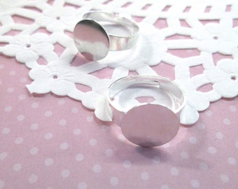 12mm Adjustable Ring Blanks, Silver Plated, Pick Your Amount, A62