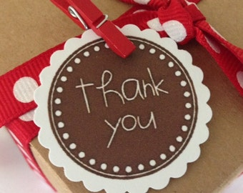 Assorted Thank You Die Cut Scallop Circles~ Set of 20 ~ Assorted Colors ~ Favors, Packaging, Card Making