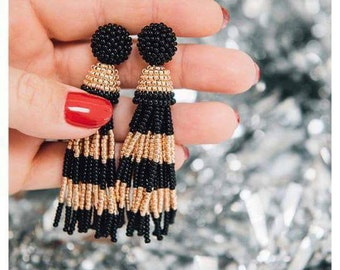 Gold and Black beaded tassel Earrings. black gold earrings Oscar de la Renta style. Stripped Clip-on earrings, sterling SILVER stud earrings