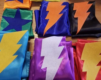 Superhero Capes - Cape with Superhero Shape - Lightning Bolt Cape - Star Cape - Heart Cape - Cape - You Choose Color and Shape