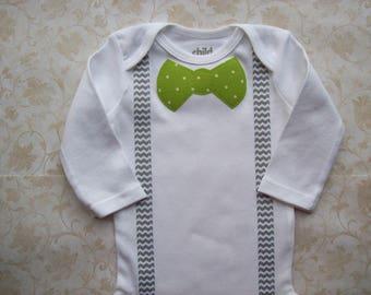 Baby boy clothes,Preemie,Newborn take  home onesie,Chevron grey gray suspenders,Infant,Easter,Green St.Patrick,Modern baby polka dot bow tie