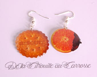 Earrings Biscuit and orange chocolate